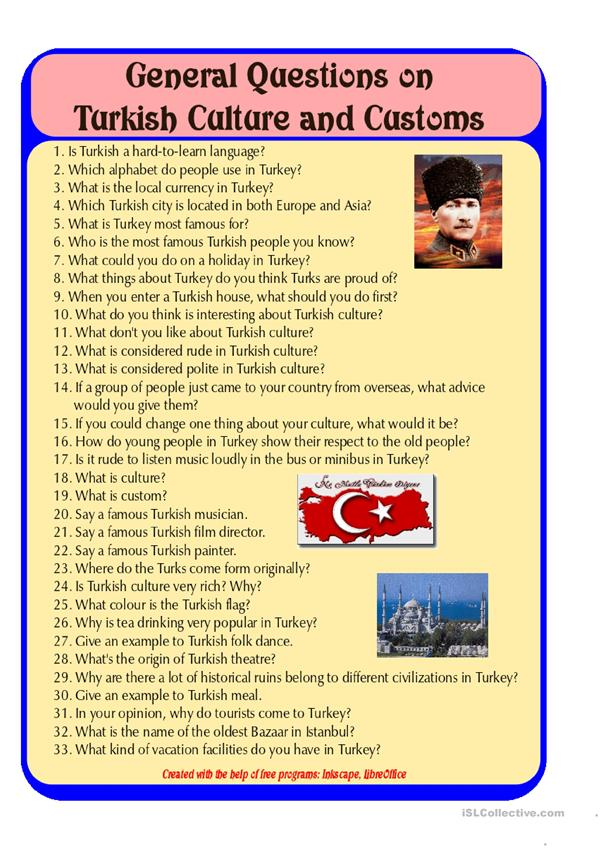General Speaking Questions on Turkey and Turkish culture