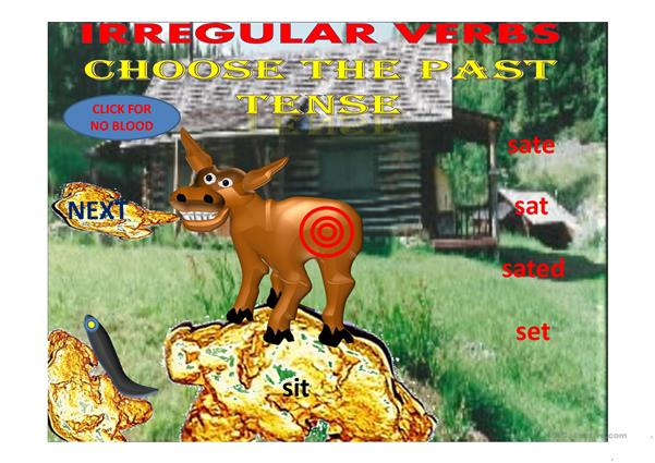 Irregualar verbs pin the tail on the donkey game part 1