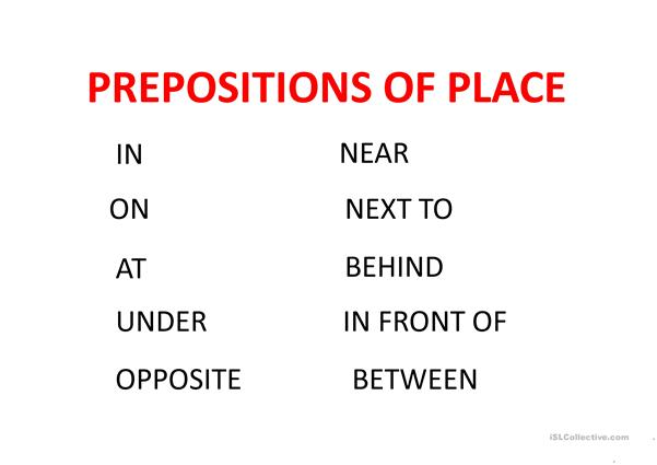 prespositions of place