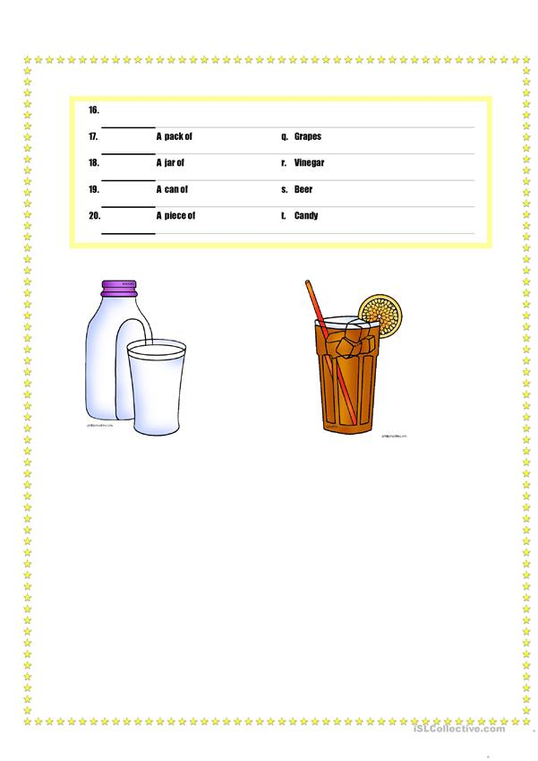 Quantifiers of food and drinks