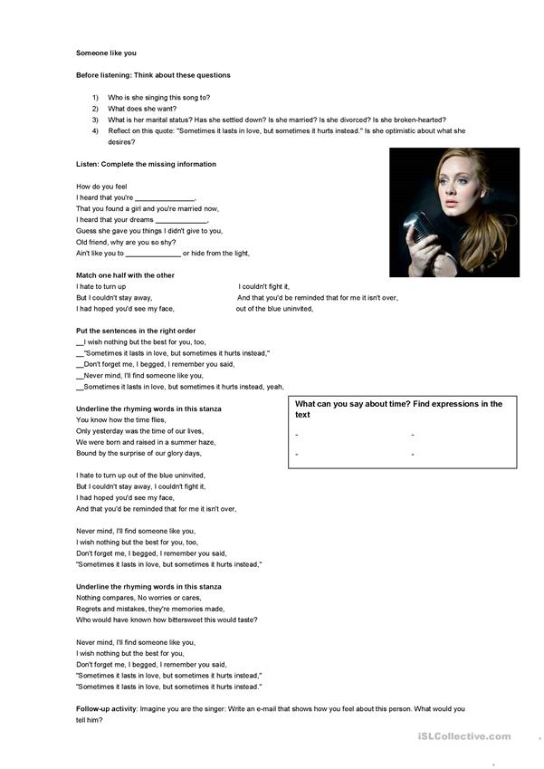 Someone like you song worksheet