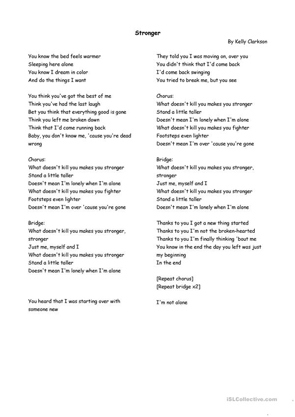 Song- Stronger- Kelly Clarkson (Worksheet)