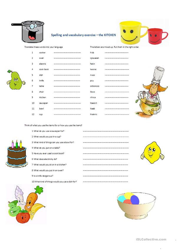 spelling and vocabulary Kitchen