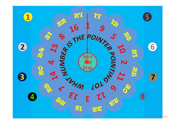 Spin the wheel and say what number the pointer is pointing to
