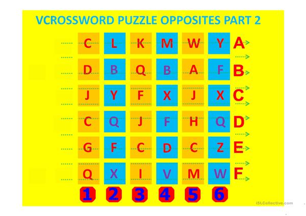vcrossord puzzle part 2 opposites