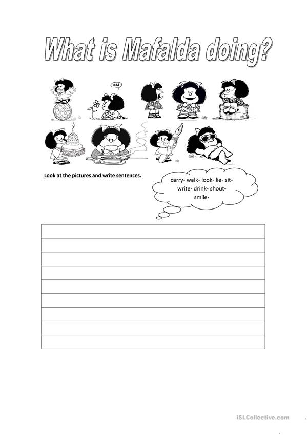 What is Mafalda doing? - Action verbs