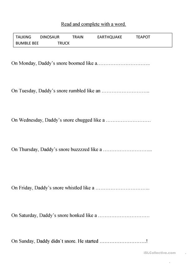worksheet of the story my daddy snores