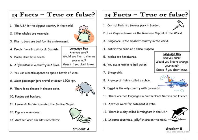 13 Questions (7) - Statements - True or False (Pair work ...