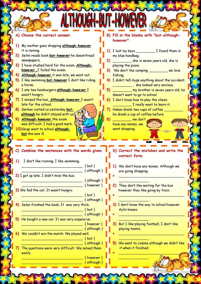 English Worksheets For Teachers : Although but however worksheet free esl printable