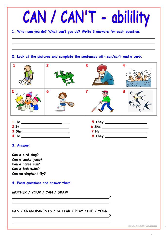 CAN - CAN'T - ESL worksheets