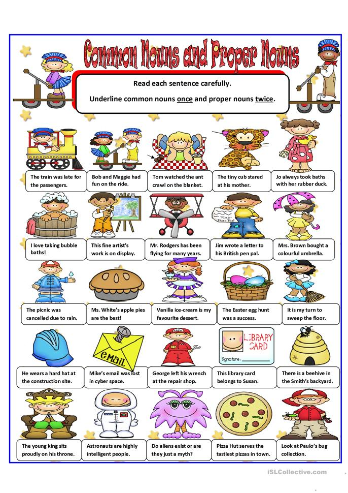 COMMON AND PROPER NOUNS worksheet - Free ESL printable worksheets made by teachers