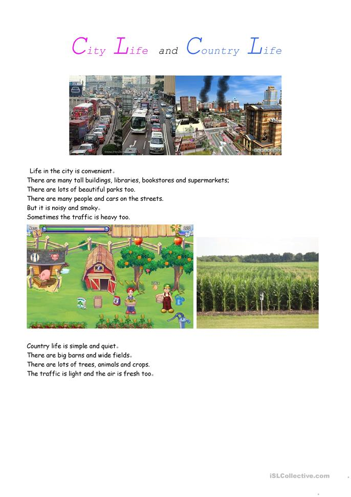 Country Life vs. City Life - ESL worksheets