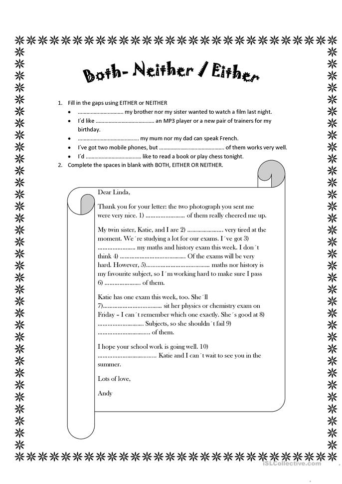 English In Italian: Either And Neither Worksheet