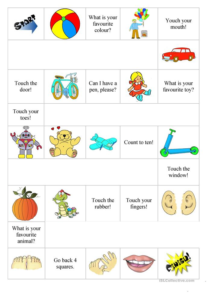 Elementary Boardgame - body parts, toys, commands - ESL worksheets