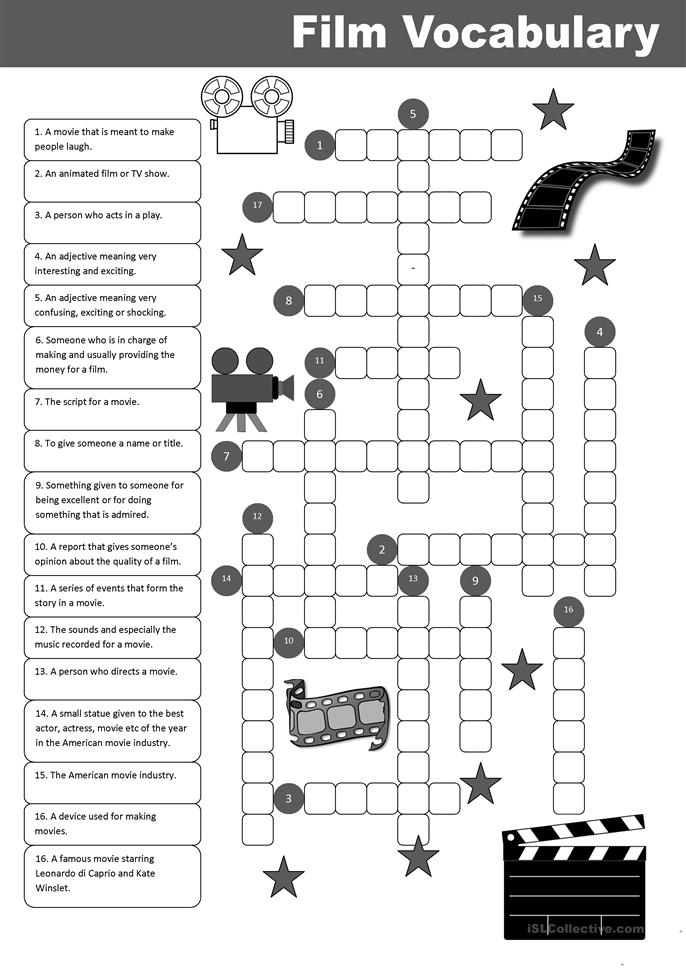 film vocabulary crossword worksheet free esl printable worksheets made by teachers. Black Bedroom Furniture Sets. Home Design Ideas
