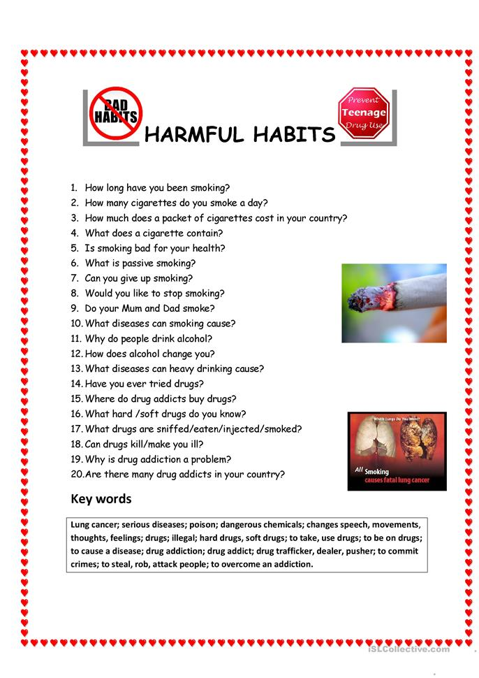 Harmful Habits/Questionnaire - ESL worksheets