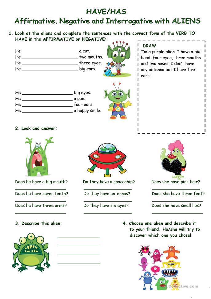 HAVE/HAS (AFFIRM., NEG, INTERROG.)with ALIENS - ESL worksheets