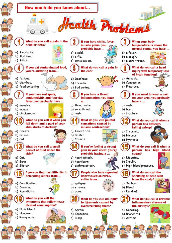 Health Problems-Quiz worksheet - Free ESL printable ...