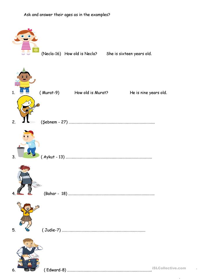 how old are they? worksheet - Free ESL printable ...