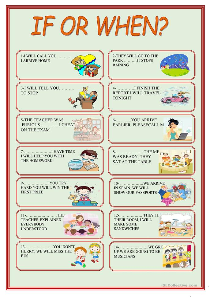 Who What Where When Worksheets : If or when worksheet free esl printable worksheets made