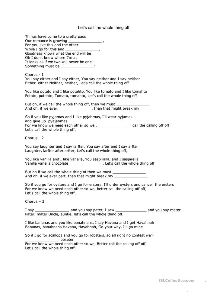 Let's call the whole thing off - ESL worksheets