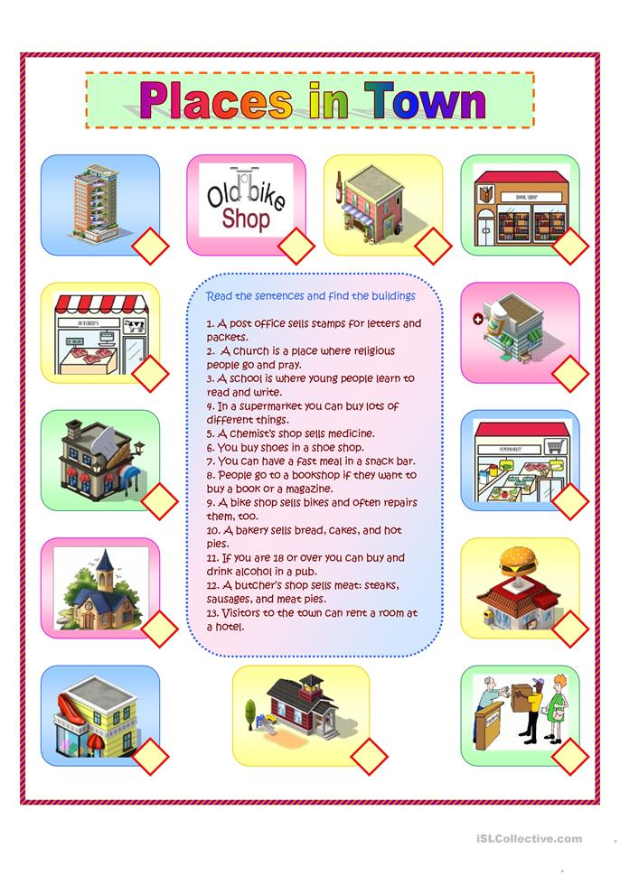 Places In Town Worksheets on English First Grade Worksheets