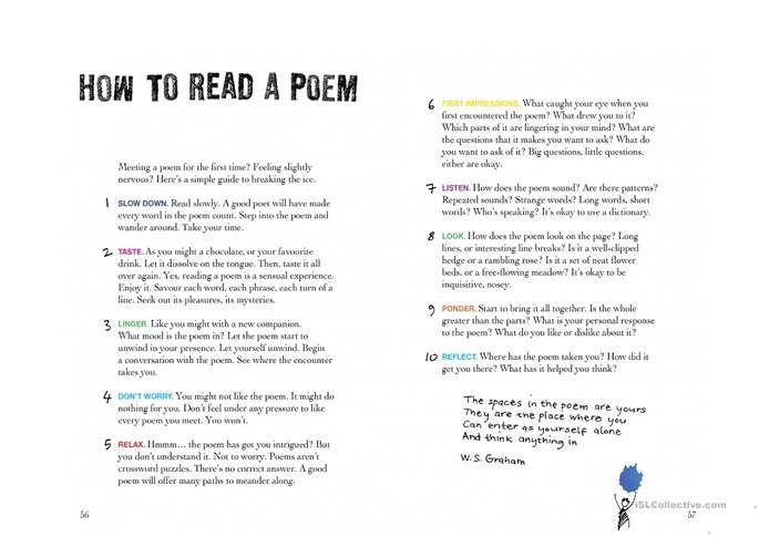 Poster How to Read Poetry - ESL worksheets
