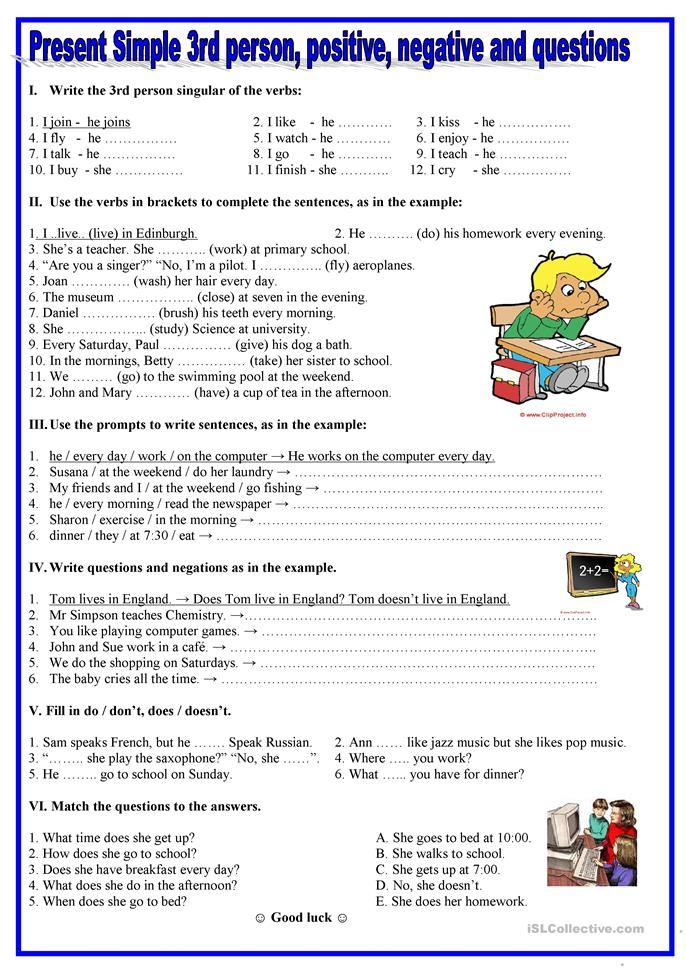 Present simple- 3rd person,positive, negative,questions - ESL worksheets