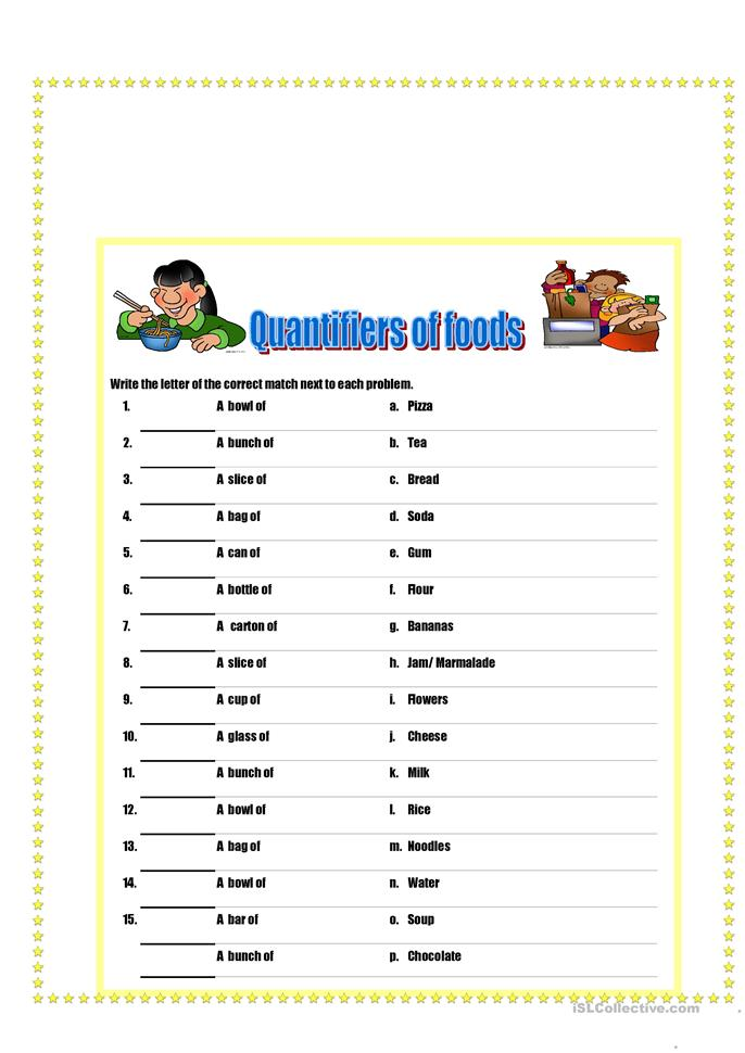 Quantifiers of food and drinks - ESL worksheets