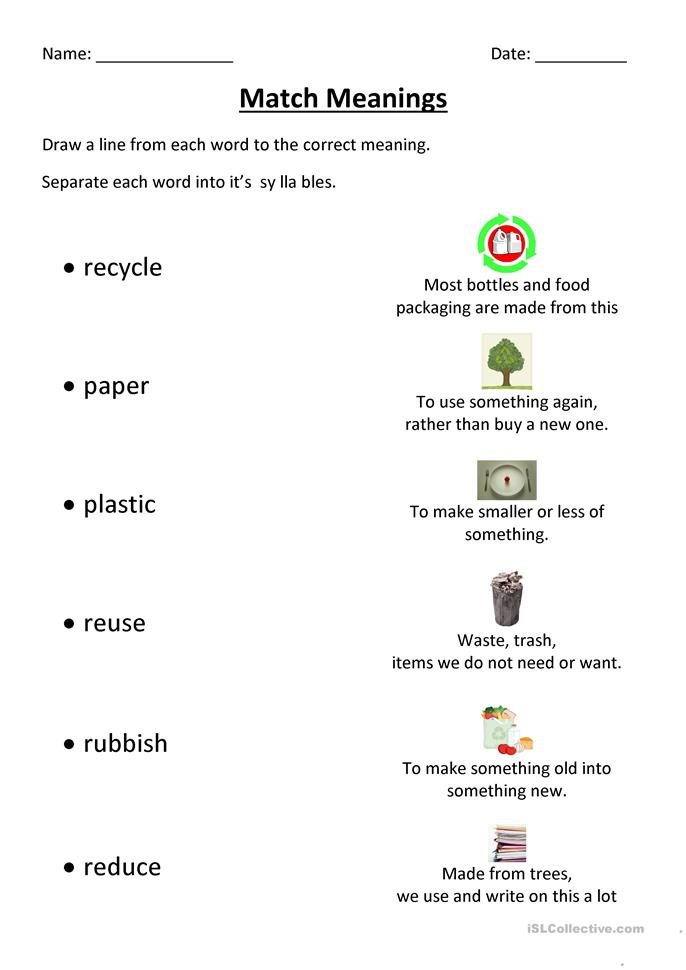 Recycling Match - ESL worksheets