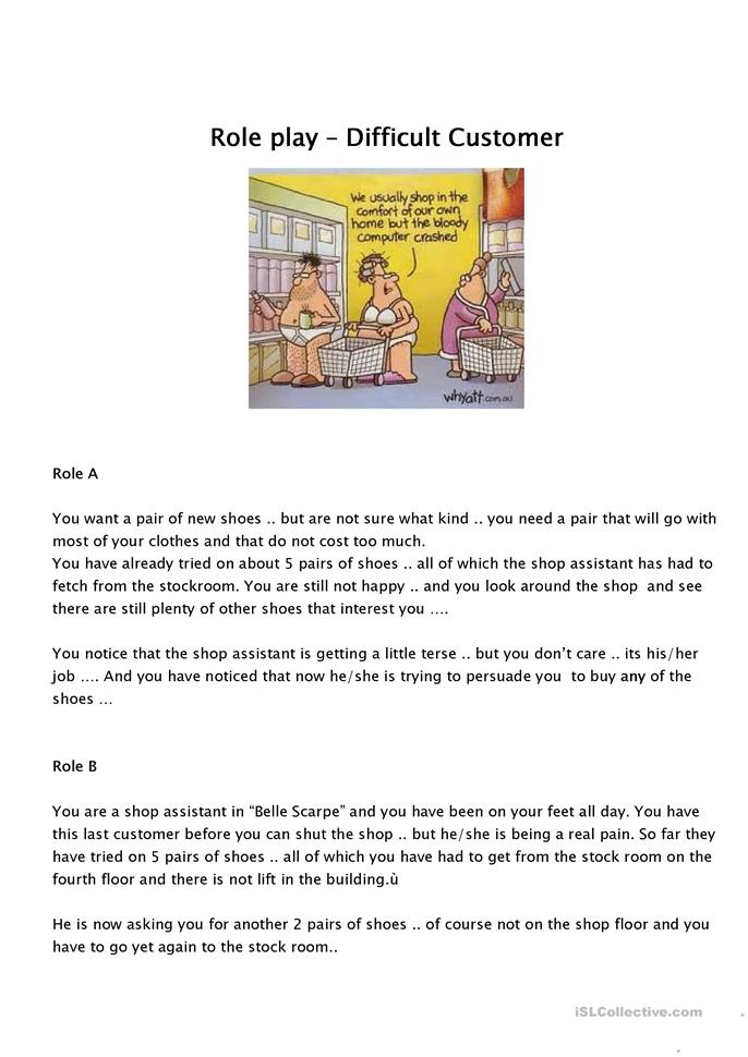 role play - customer c... - ESL worksheets