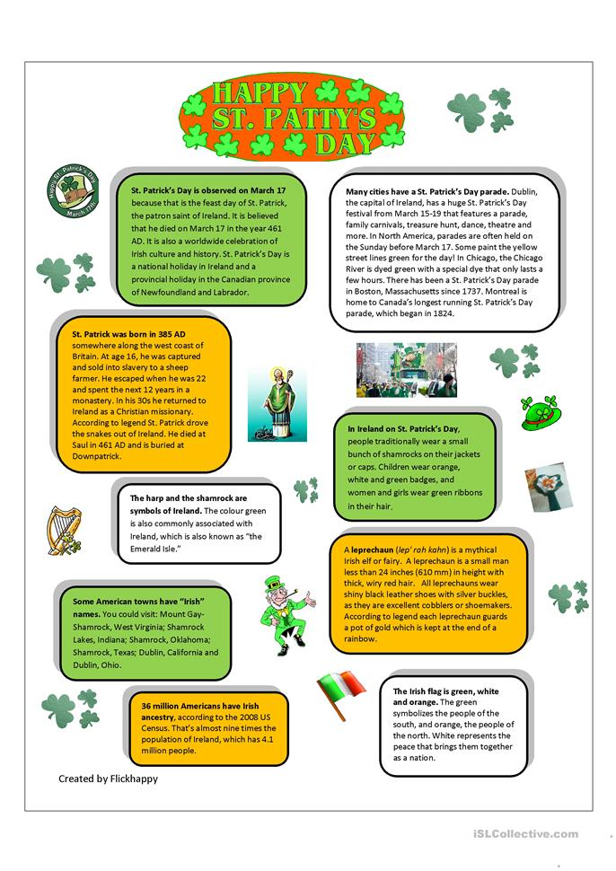 St. Patrick's Day Facts - ESL worksheets