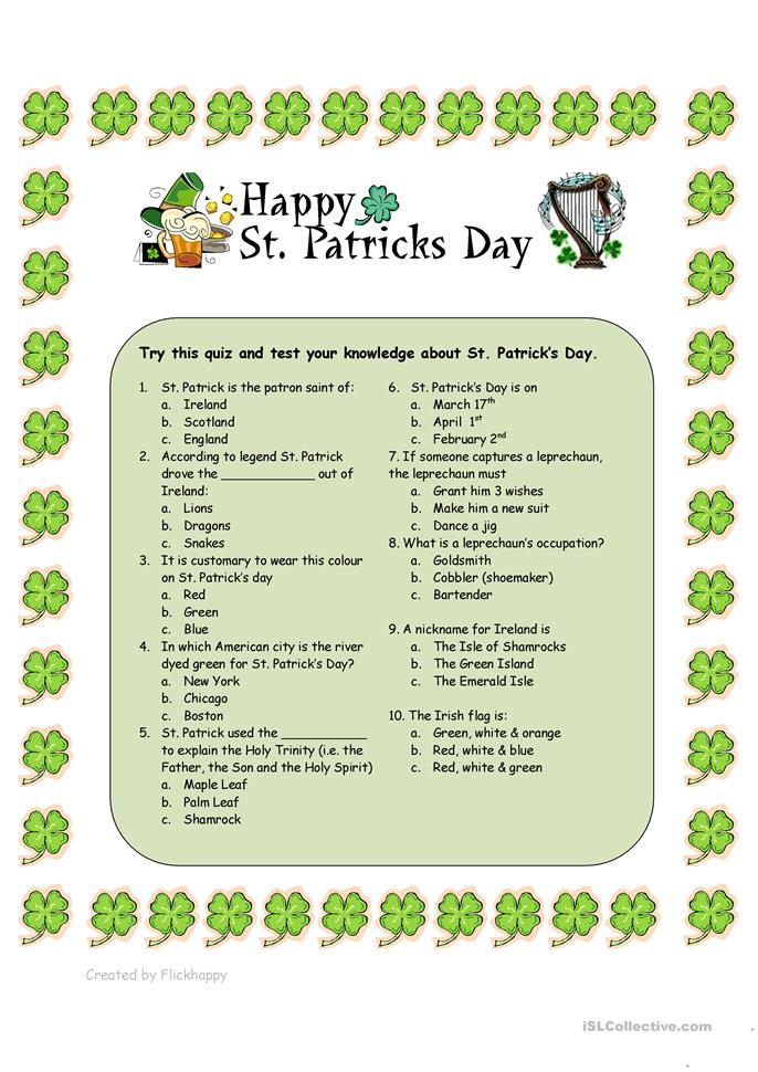 St. Patrick's Day Quiz - ESL worksheets