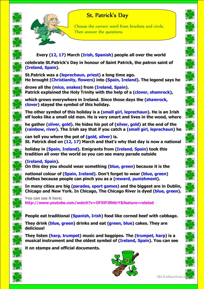 St Patrick's Day - reading  - ESL worksheets