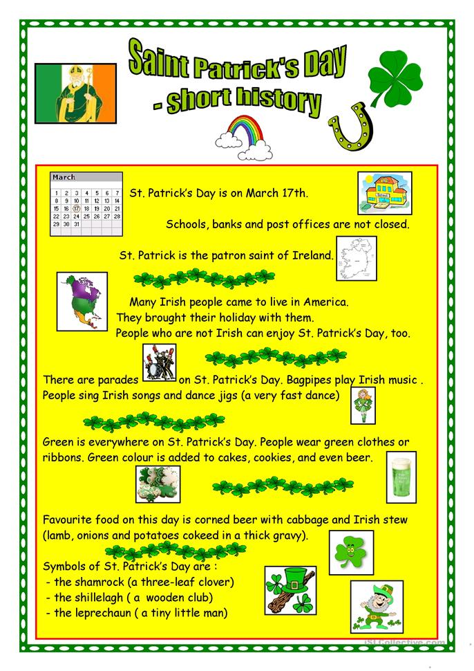 St Patrick's Day - short history - ESL worksheets