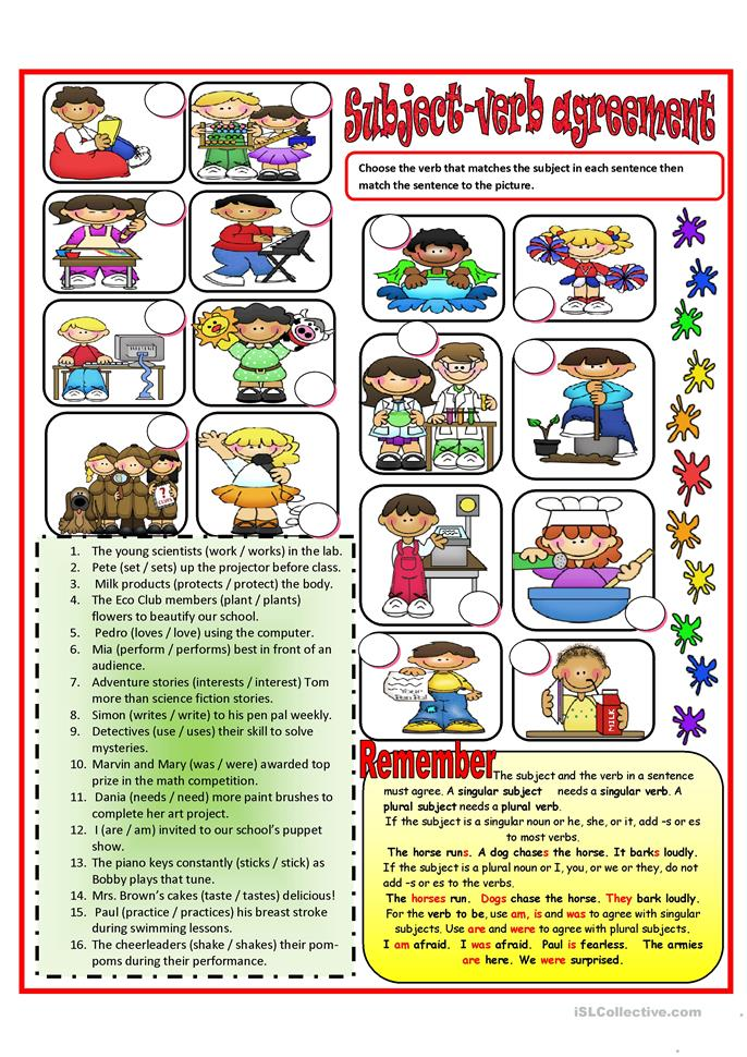 84 FREE ESL Subject and verb agreement worksheets