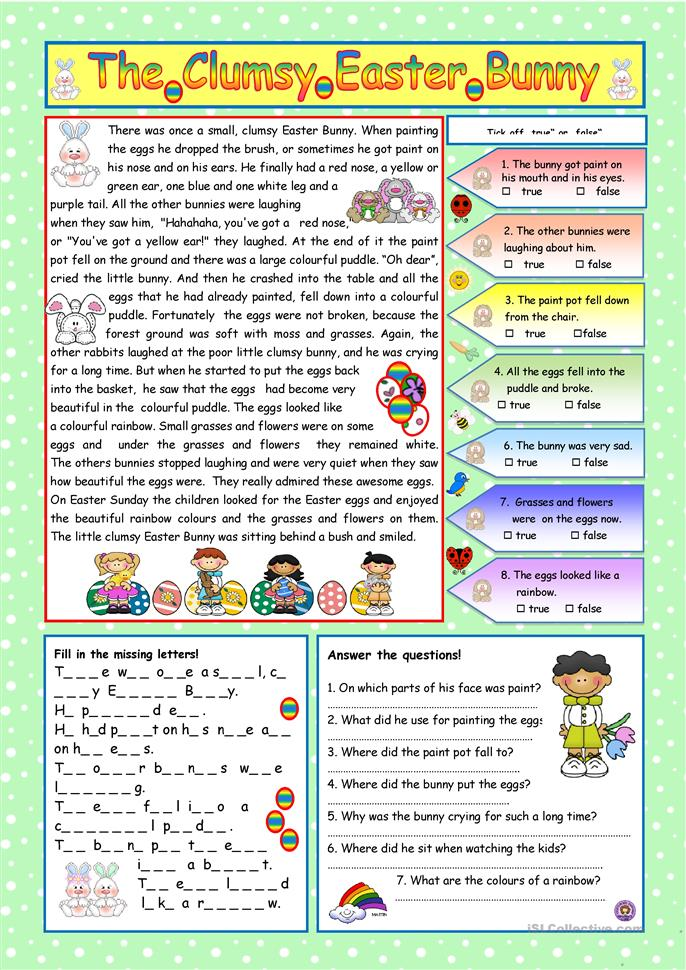 The Clumsy Easter Bunny (KEY included) - ESL worksheets