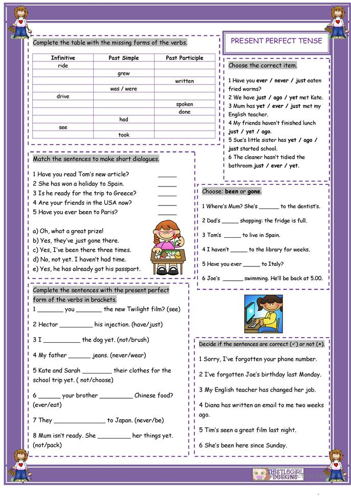 The Present Perfect Tense - ESL worksheets