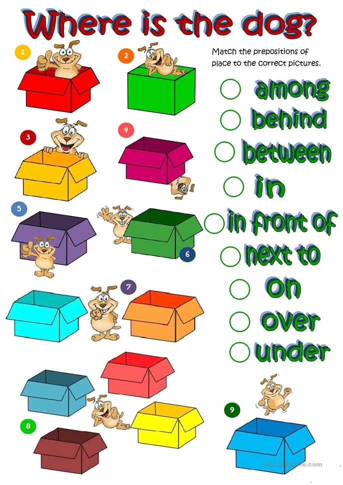 Where's the dog - prepositions of place - ESL worksheets