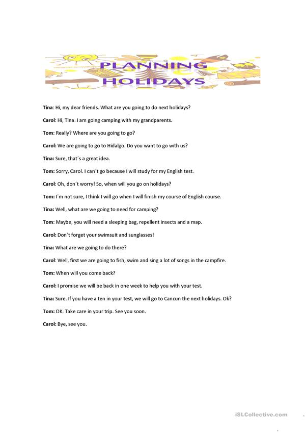 conversation between four friends holiday plans