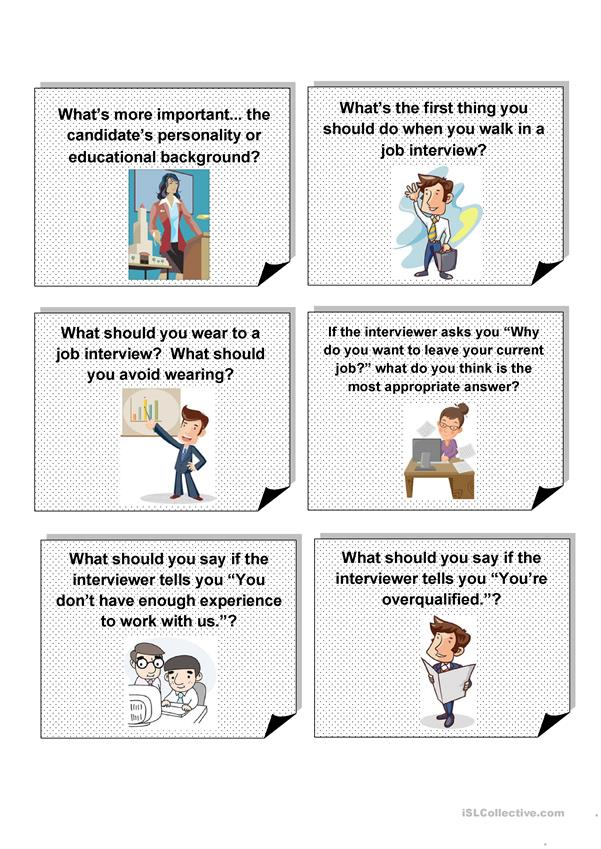 CONVERSATION QUESTIONS - JOB INTERVIEWS - English ESL Worksheets for distance learning and ...