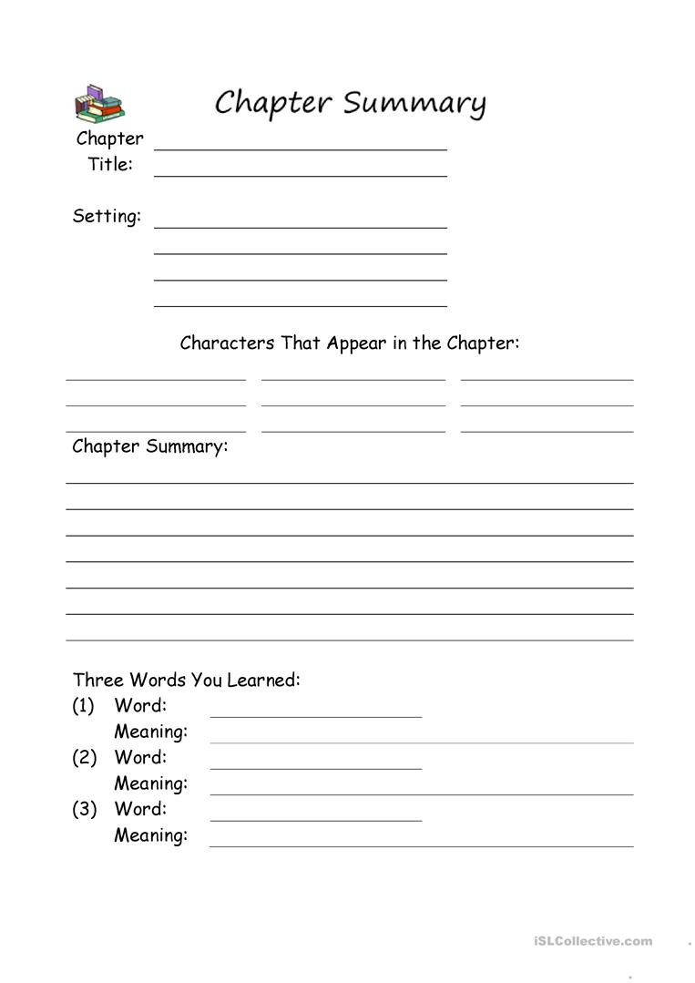 36 FREE ESL summary worksheets