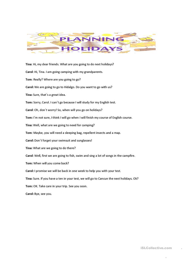 CONVERSATION ABOUT PLANNING HOLIDAYS  worksheet - Free ESL printable