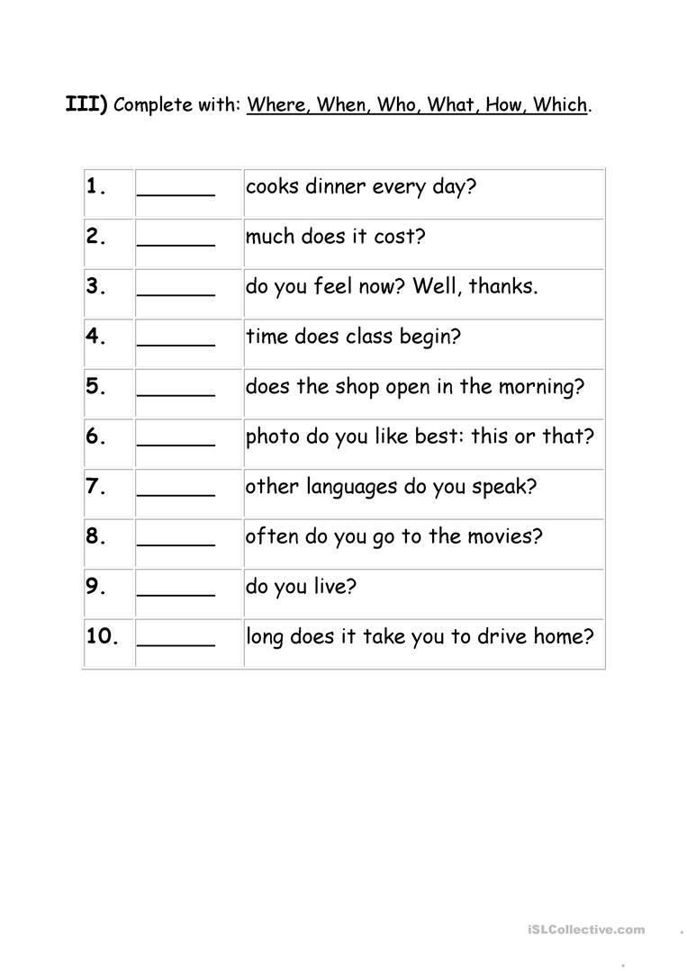 Worksheets Wh Question Worksheets exercises wh question words worksheet free esl printable full screen