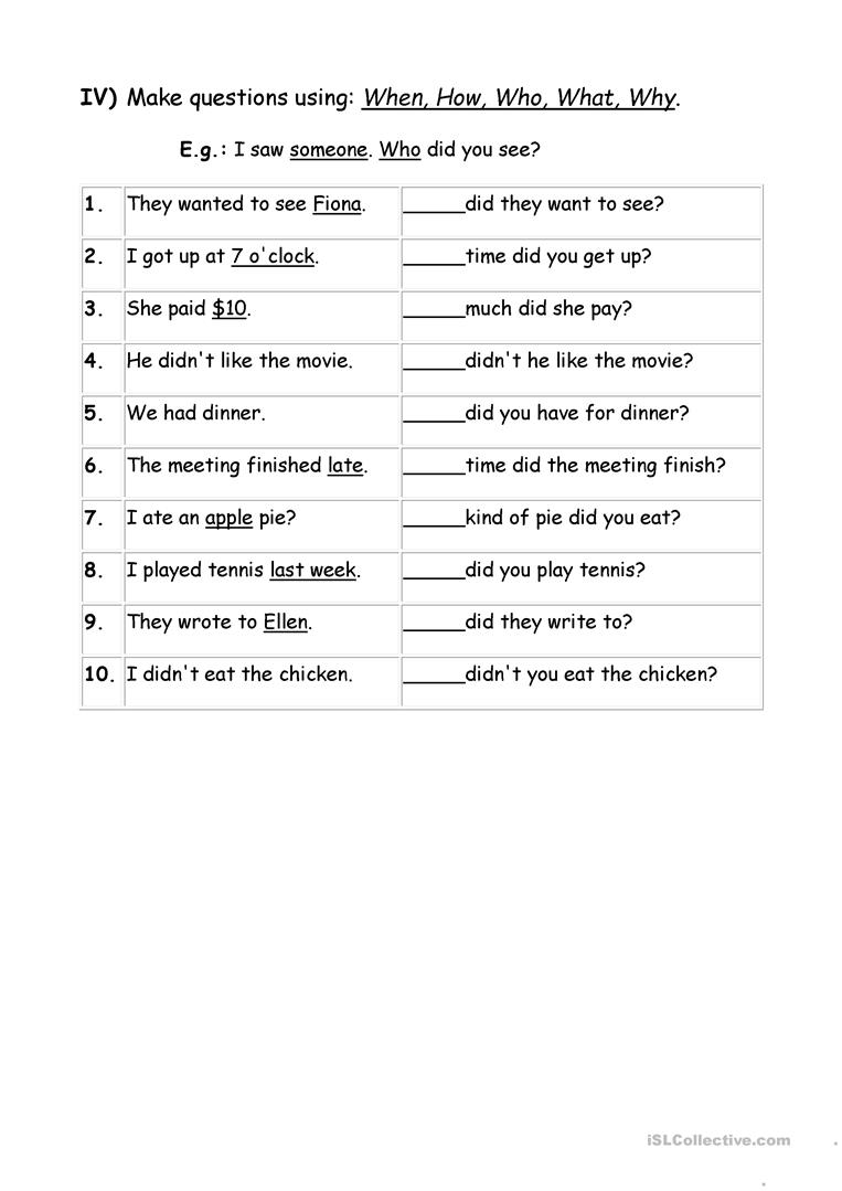 Exercises Wh question words - English ESL Worksheets