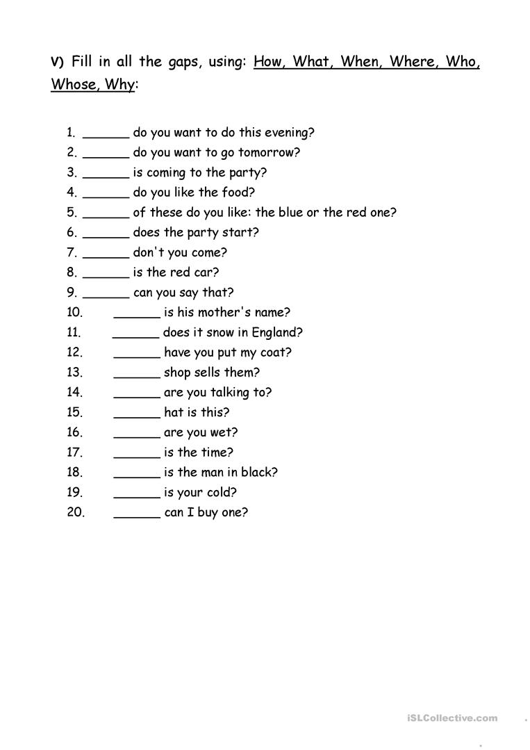Worksheets Wh Questions Worksheets exercises wh question words worksheet free esl printable full screen
