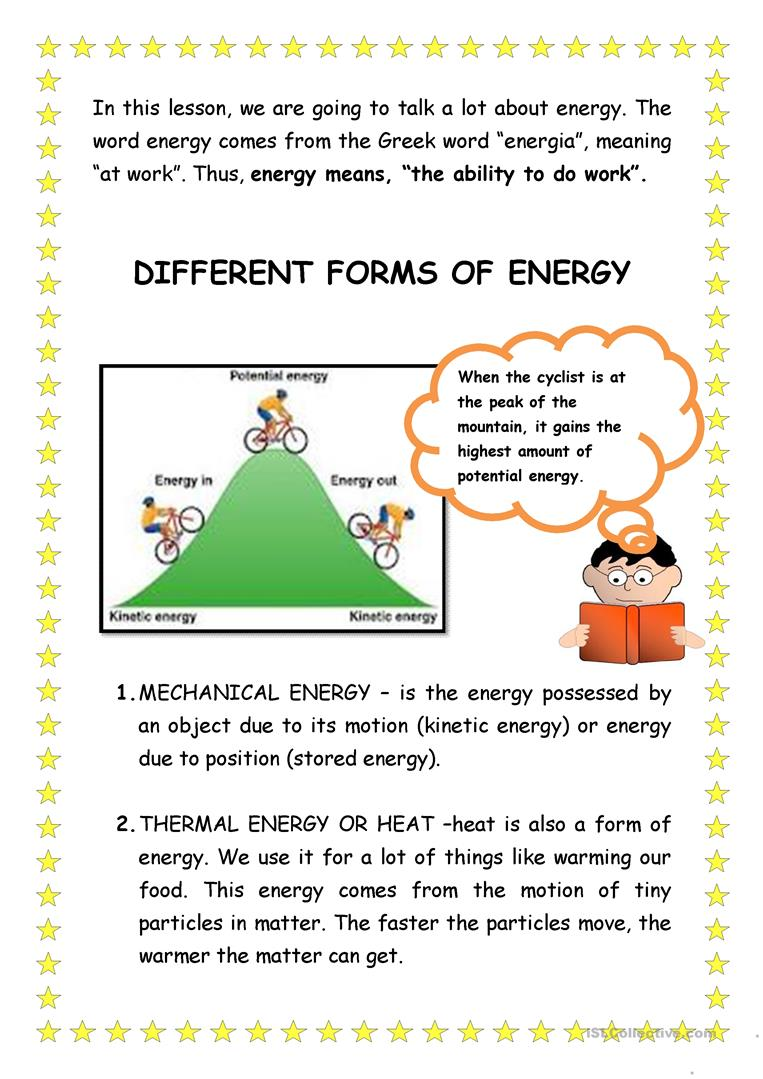 Worksheets Forms Of Energy Worksheet forms of energy worksheet free esl printable worksheets made by full screen