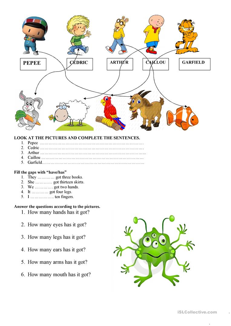 worksheet Has And Have Worksheets 441 free esl have got or has worksheets got
