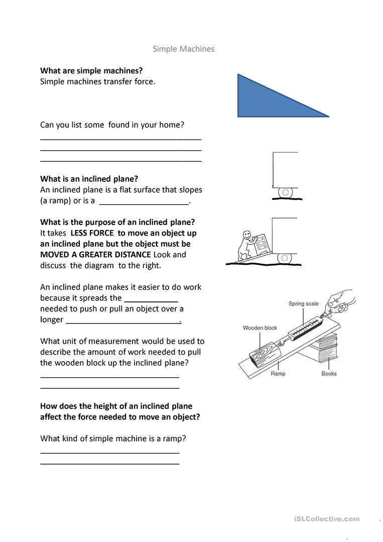 Making Life Easier Pulleys and Inclined Planes worksheet Free – Inclined Plane Worksheet