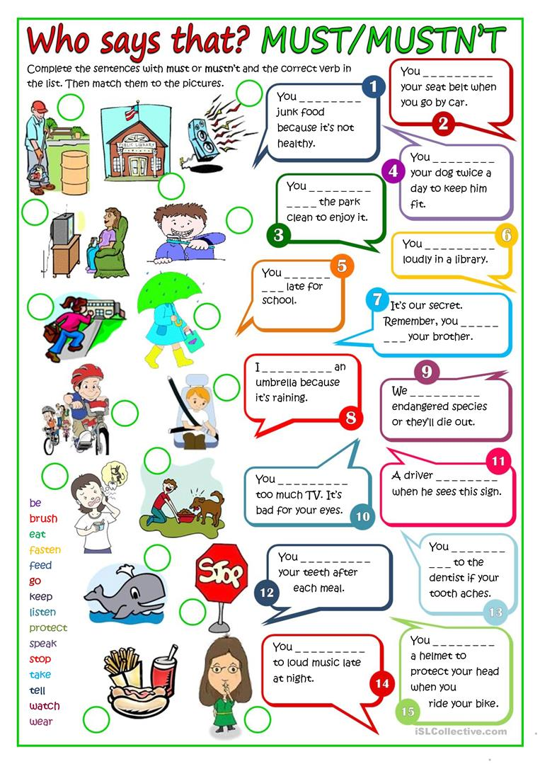 155 free esl modal verbs worksheets modal verbs must or mustnt robcynllc Images